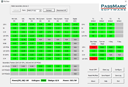 Screenshot of PassMark PSU Tester Monitoring Software for Windows